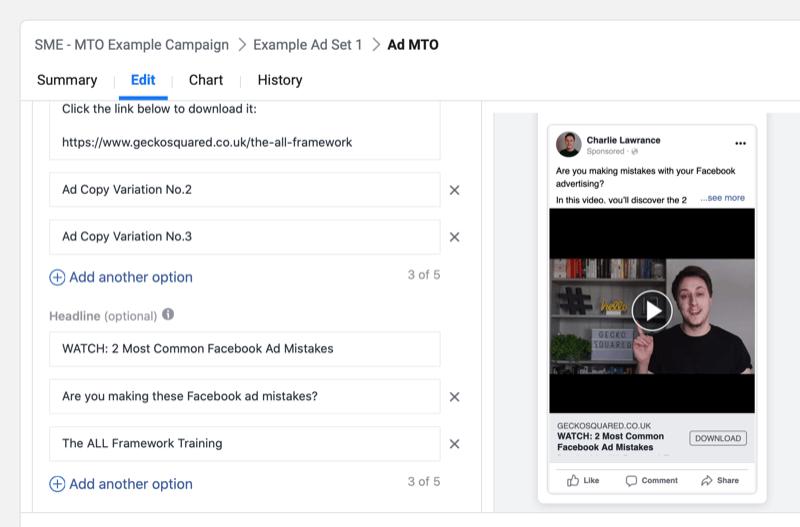 提升Facebook广告转化的利器,Multiple Text Options功能怎么用?